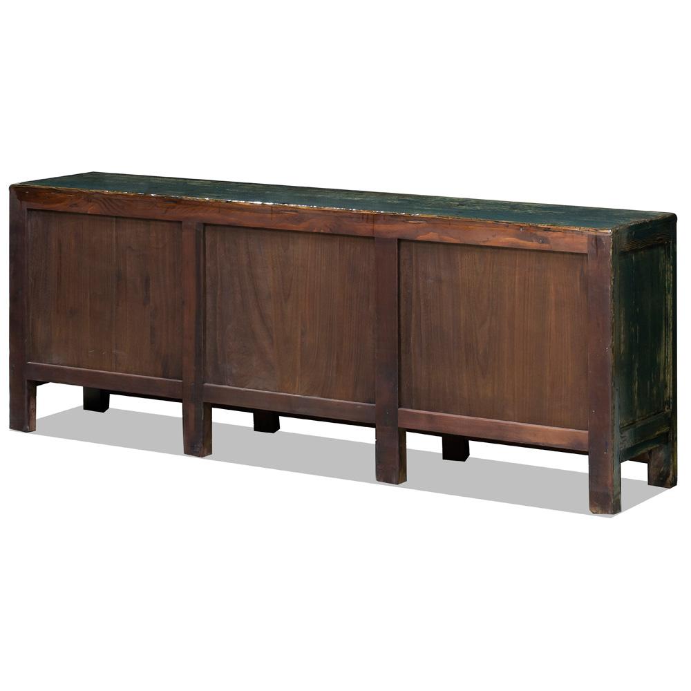 Vintage Teal Elmwood Tibetan Cabinet