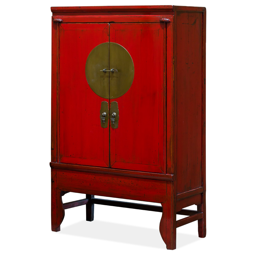 Vintage Elmwood Chinese Red Wedding Cabinet
