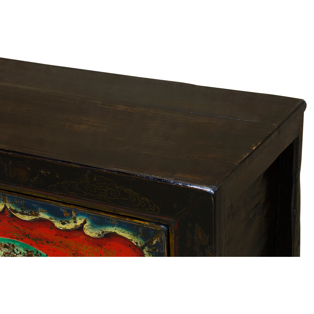 Vintage Elmwood Grand Tibetan Cabinet