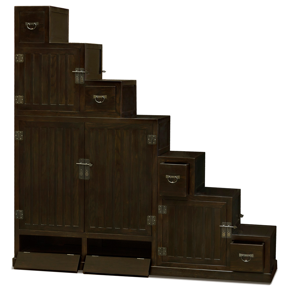 Japanese Style Double Sided Step Tansu Chest