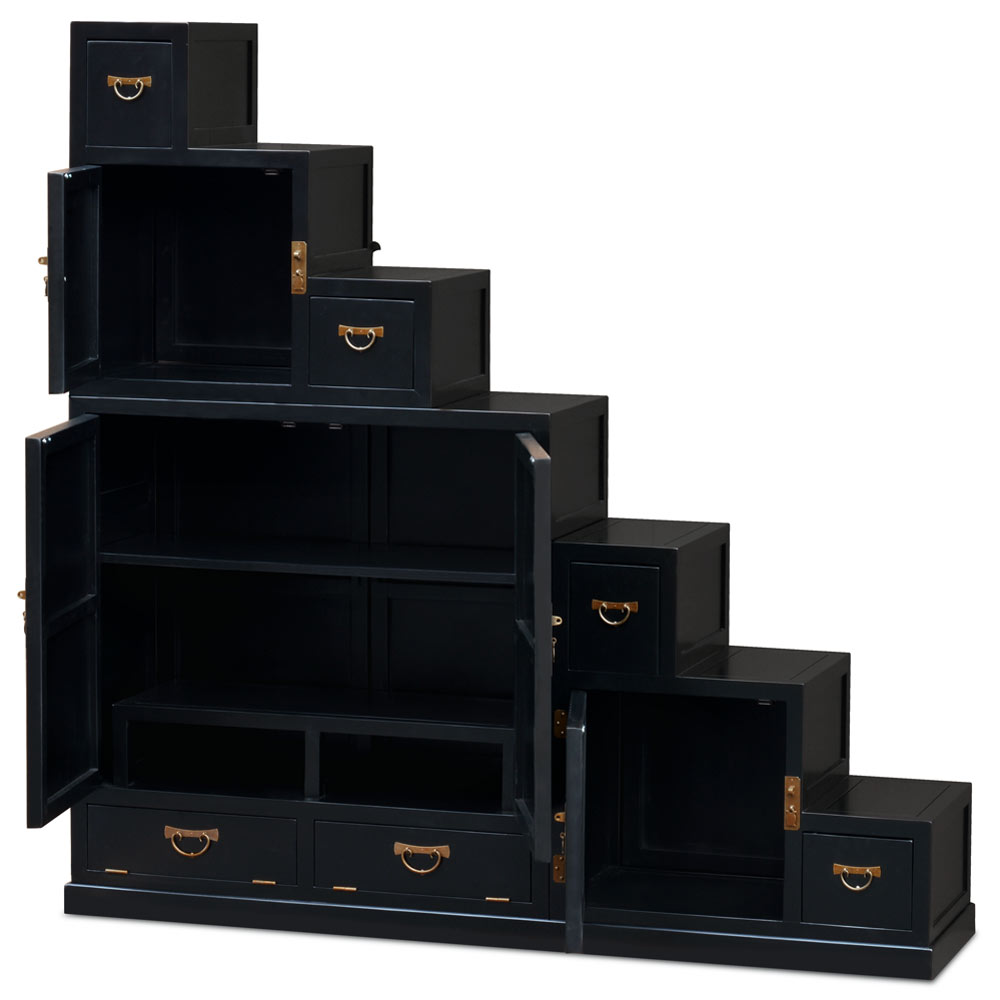 Black Finish Elmwood Grand Japanese Step Tansu Chest