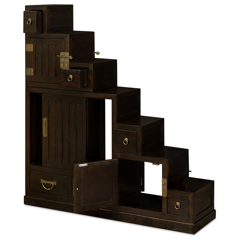 Dark Espresso Elmwood Japanese Style Step Tansu Chest
