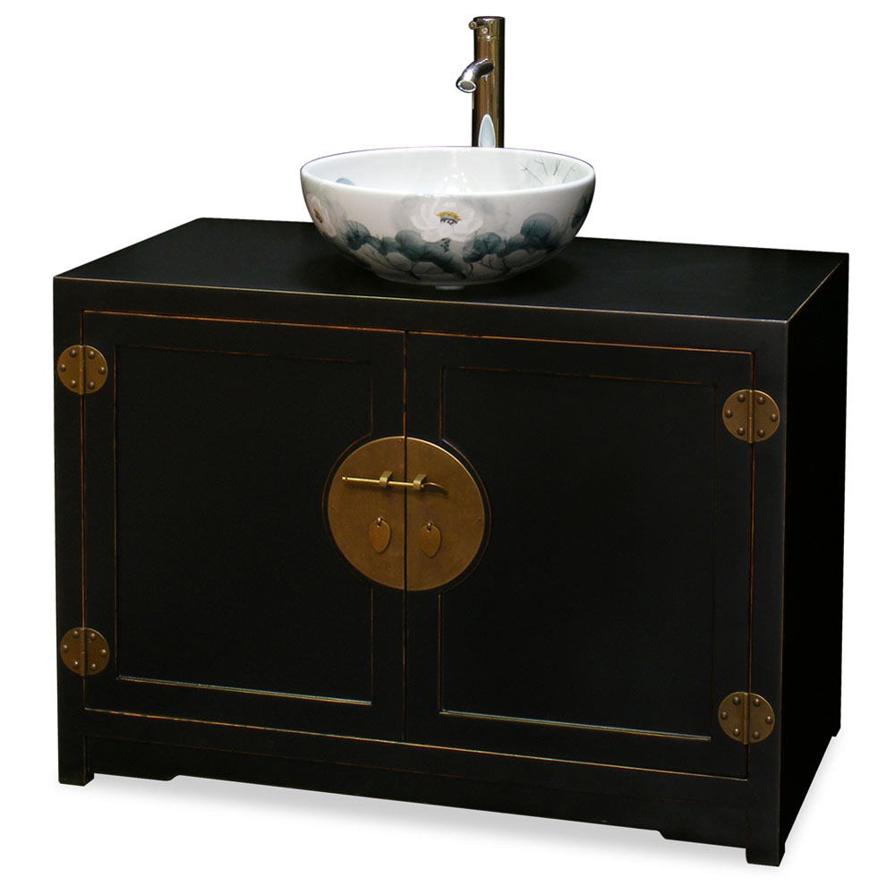 Distressed Black Elmwood Chinese Ming Vanity Cabinet