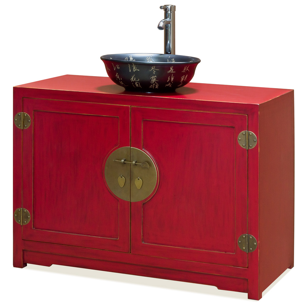 Distressed Red Elmwood Ming Vanity Cabinet
