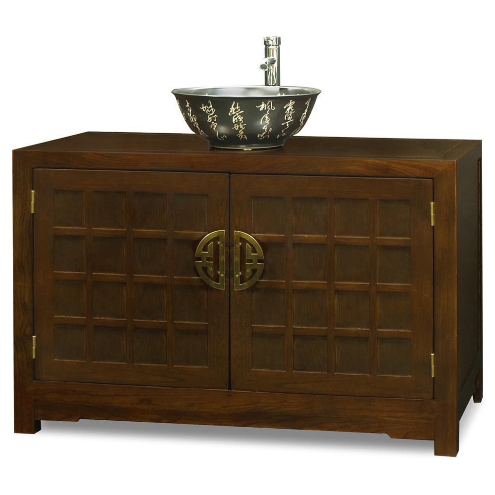 elmwood tansu style vanity cabinet