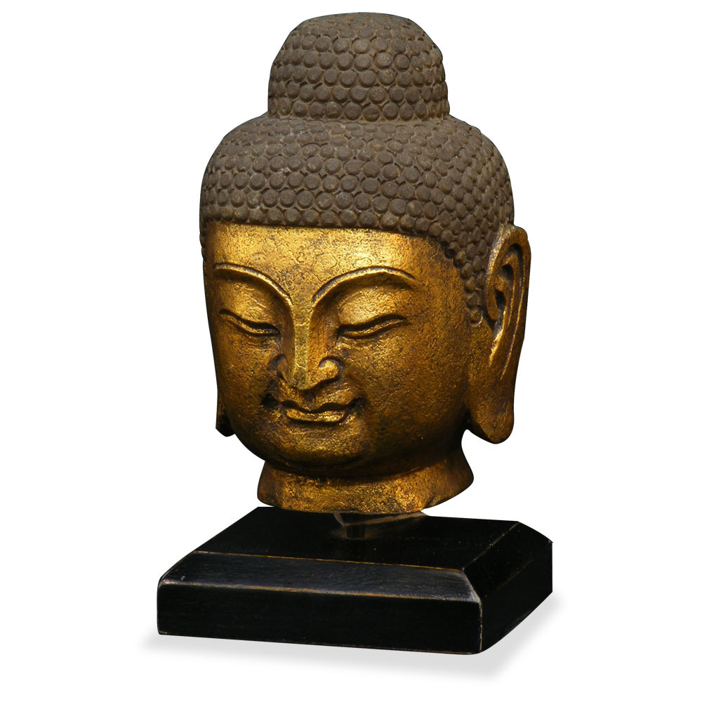 Hand Crafted Gilded Stone Buddha Head