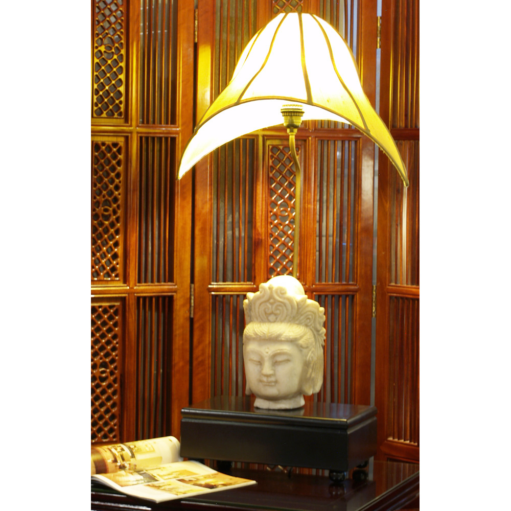 Marble Guanyin Sculpture Oriental Table Lamp