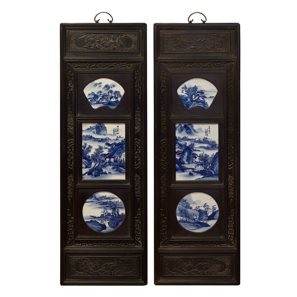 Hand-Painted Blue and White Porcelain Scenery Motif  Wall Plaques