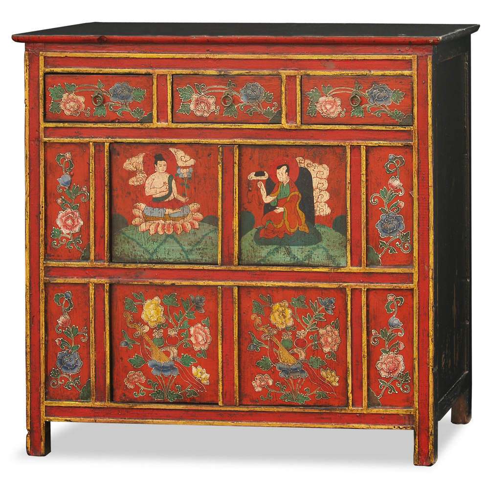 Hand painted tibetan cabinet for Expressive kitchen cabinets