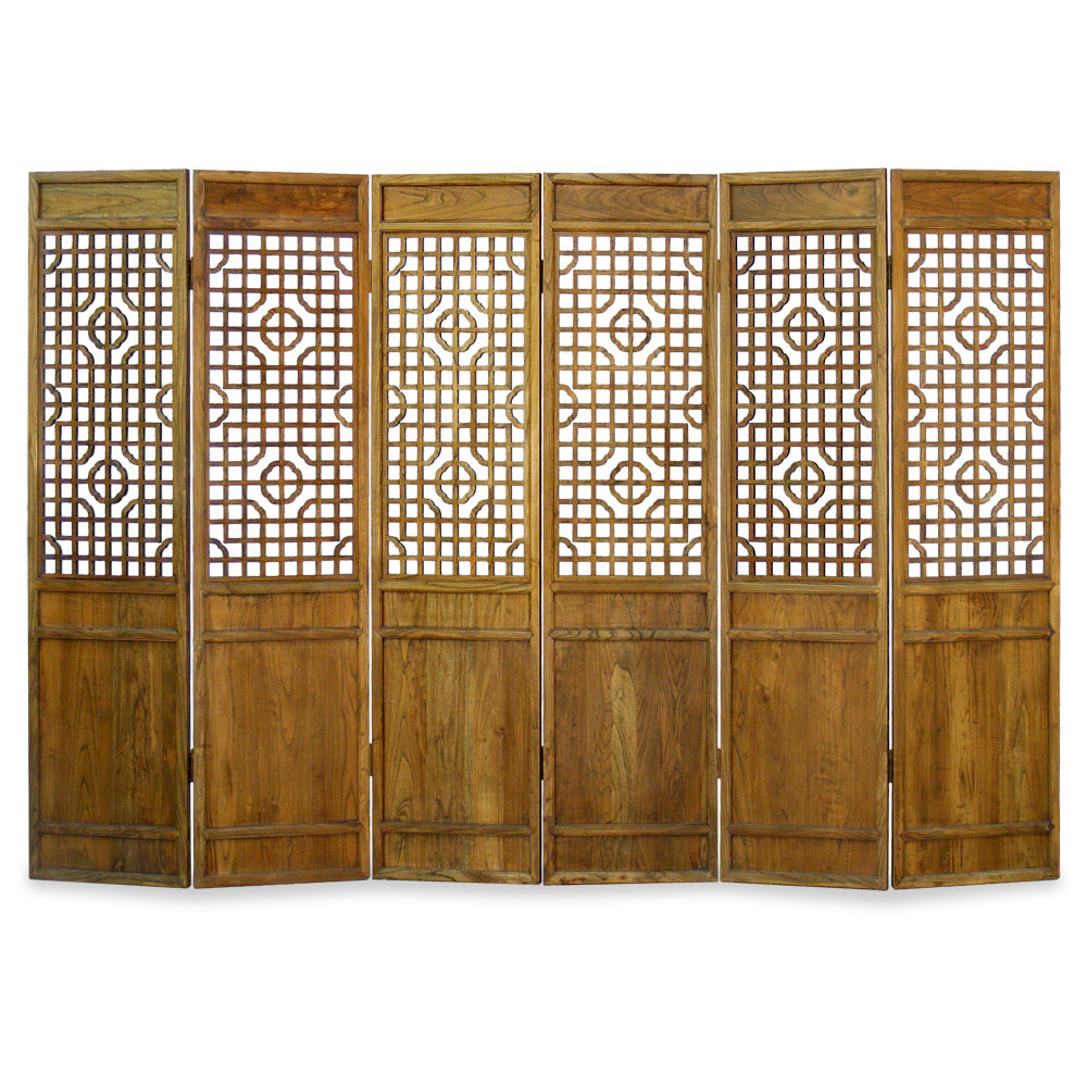 Grand Elmwood Panel Floor Screen