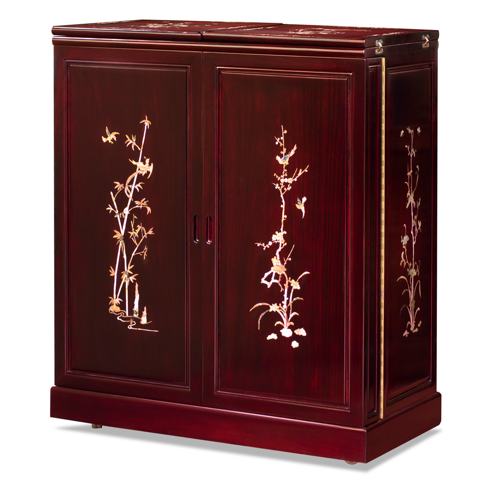 Dark Cherry Rosewood Mother of Pearl Inlay Oriental Bar Cabinet
