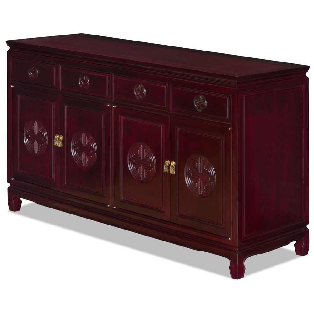 Dark Cherry Rosewood Chinese Longevity Sideboard