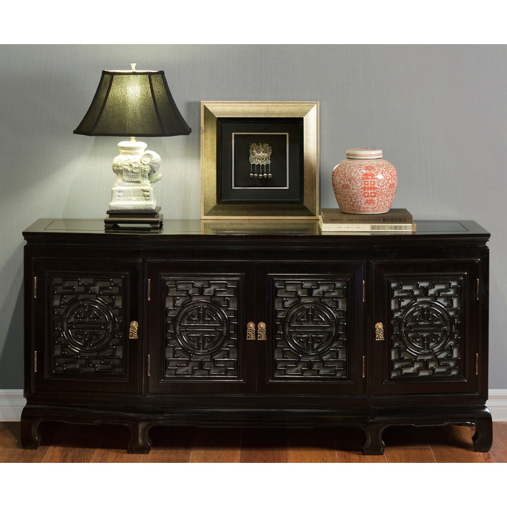 Black Rosewood Longevity Sideboard with Lattice Doors