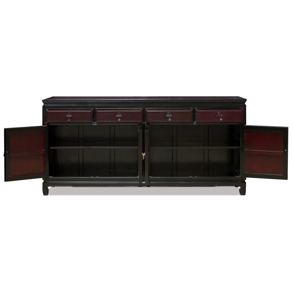 72 Inch Black Trim Dark Cherry Rosewood Longevity Motif Sideboard