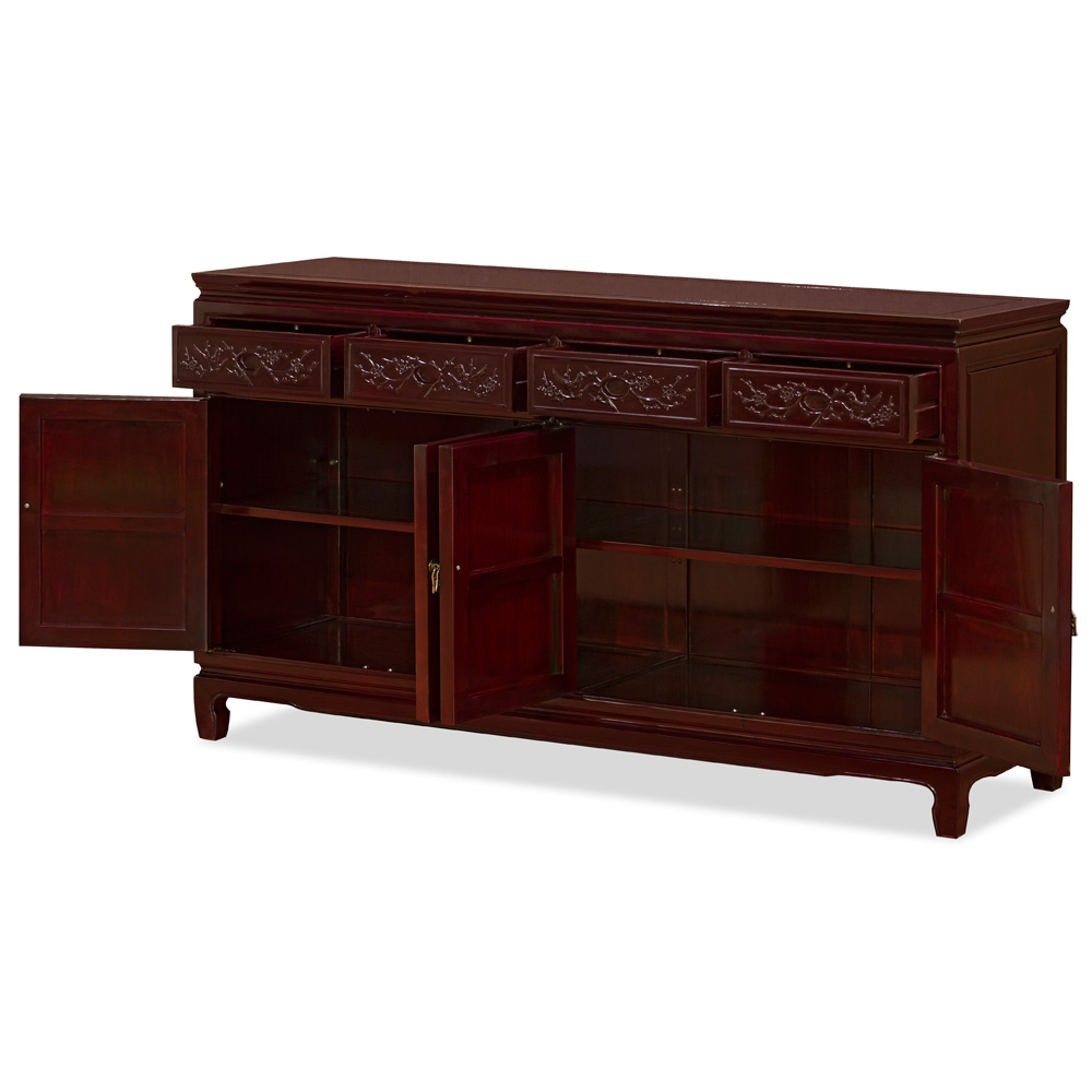 Dark Cherry Rosewood Flower and Bird Oriental Sideboard