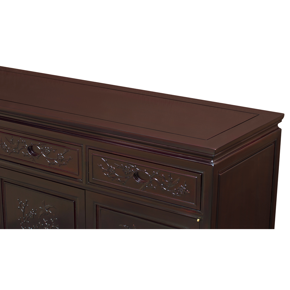 Grand Dark Cherry Rosewood Flower and Bird Oriental Sideboard