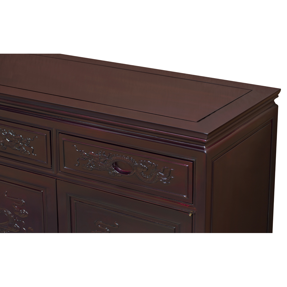 Grand Dark Cherry Rosewood Dragon Oriental Sideboard