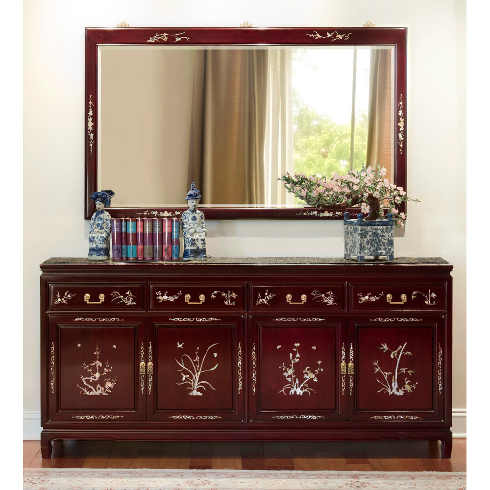 Dark Cherry Rosewood Oriental Sideboard with Flower and Bird Mother of Pearl Inlay
