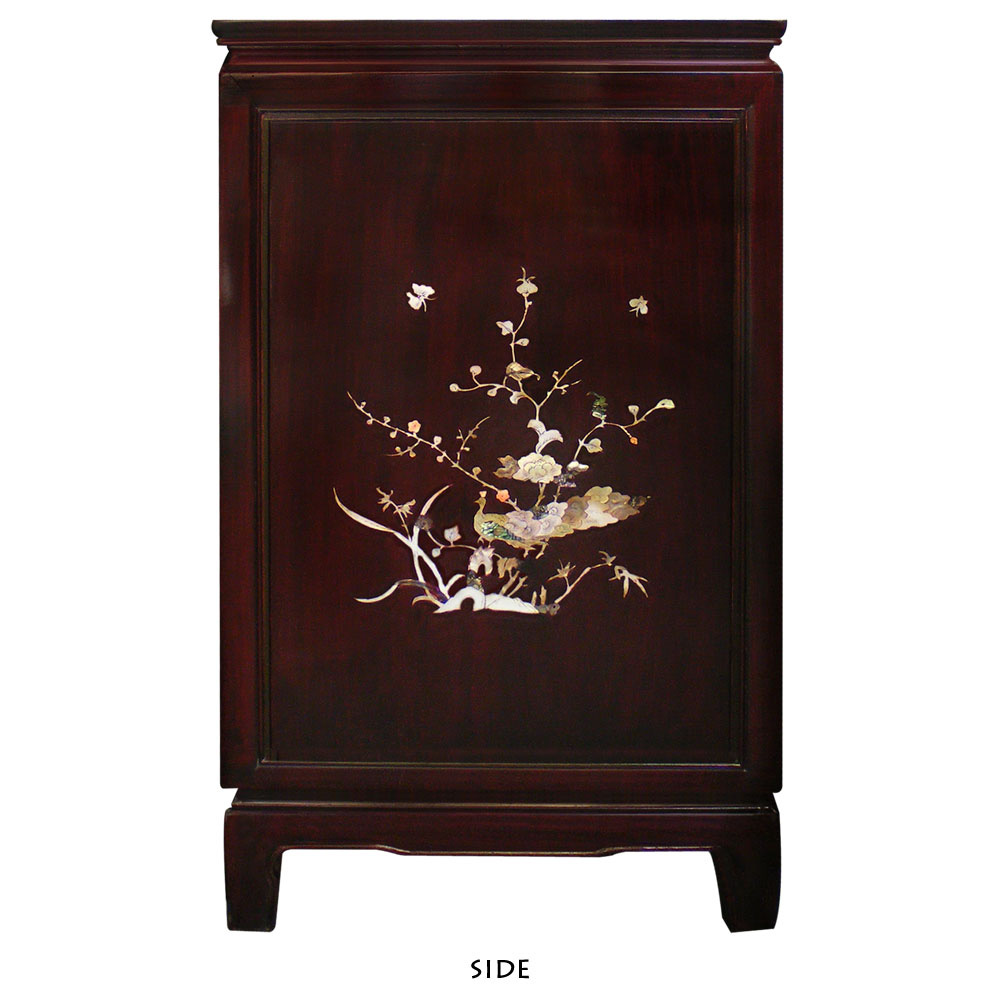 Grand Dark Cherry Rosewood Sideboard with Flower and Bird Mother of Pearl Inlay