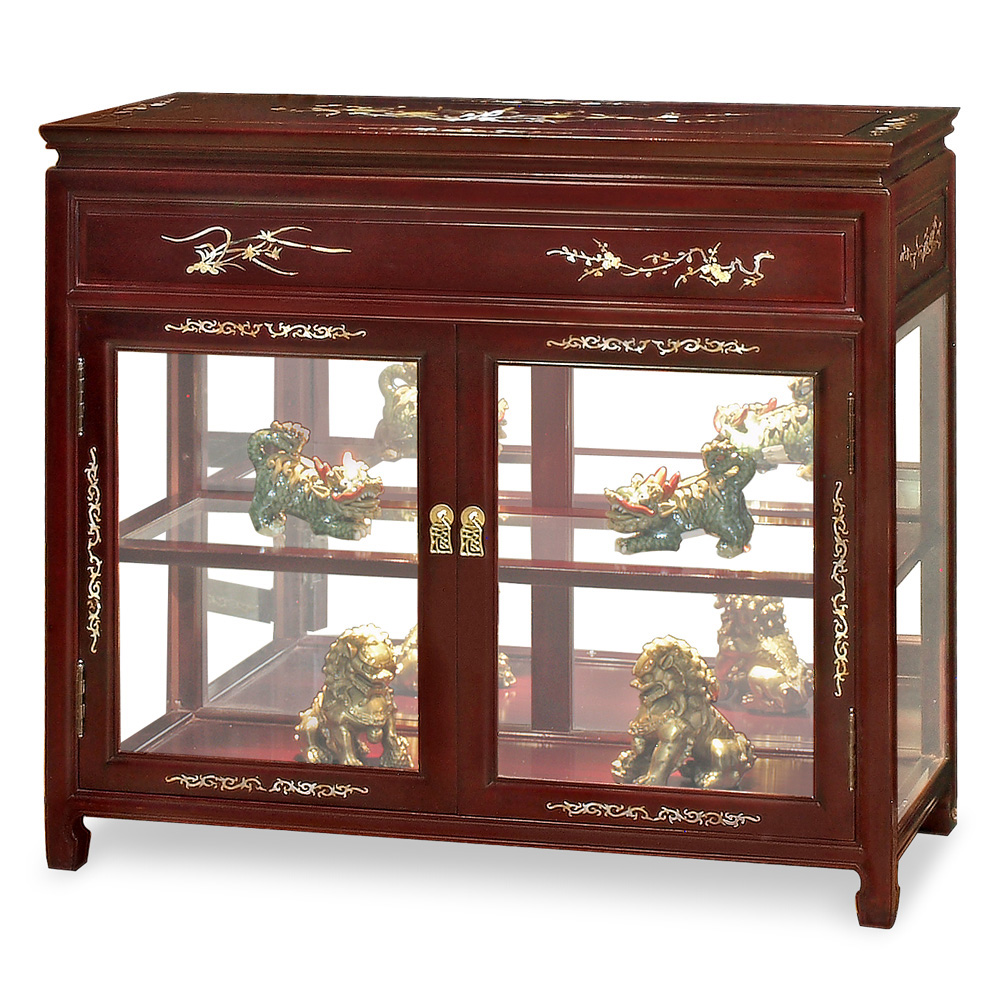 Rosewood Pearl Inlay Curio Cabinet