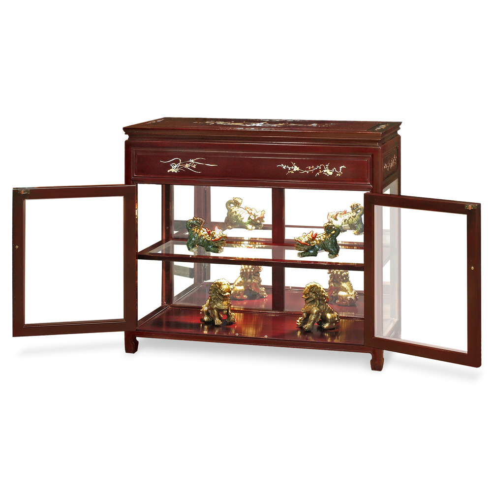 Dark Cherry Petite Rosewood Oriental Display Cabinet with Mother of Pearl Inlay