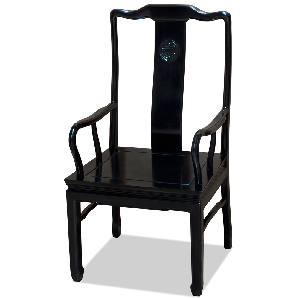 Black Rosewood Chinese Longevity Arm Chair