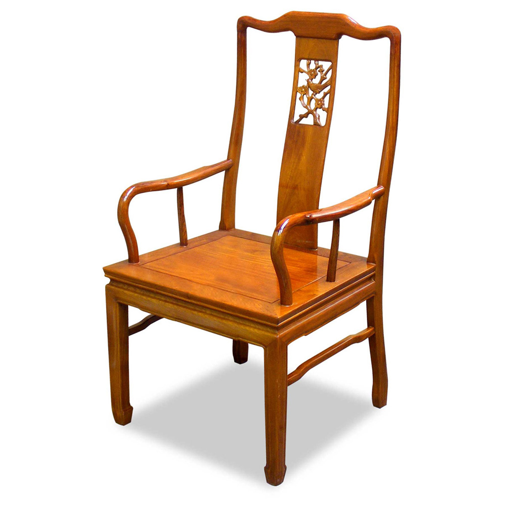 Natural Finish Rosewood Flower and Bird Arm Chair