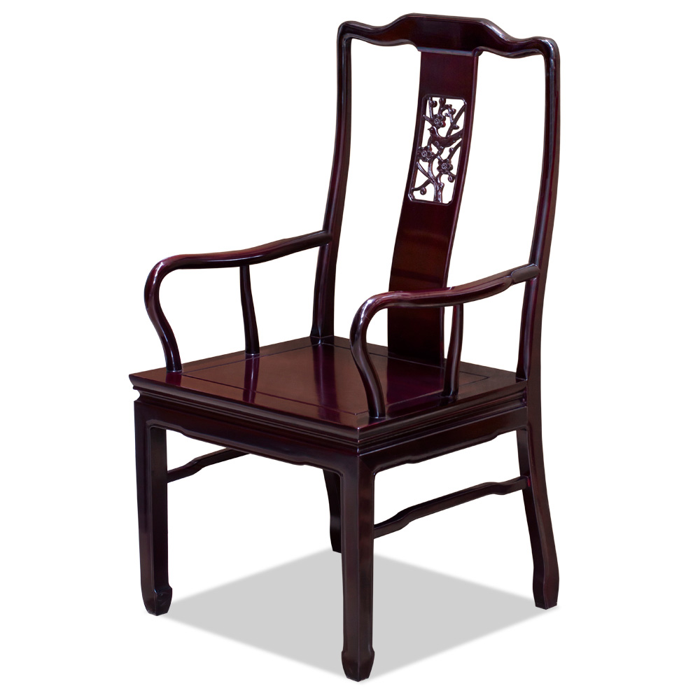 Dark Cherry Rosewood Flower and Bird Oriental Arm Chair