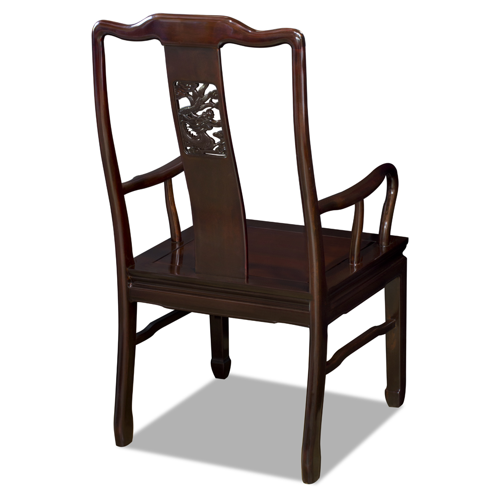 Mahogany Rosewood Dragon Oriental Arm Chair