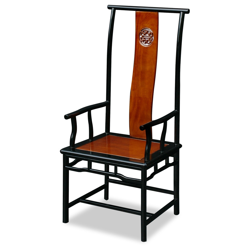 Black Trim Natural Finish Rosewood Ming Longevity Arm Chair