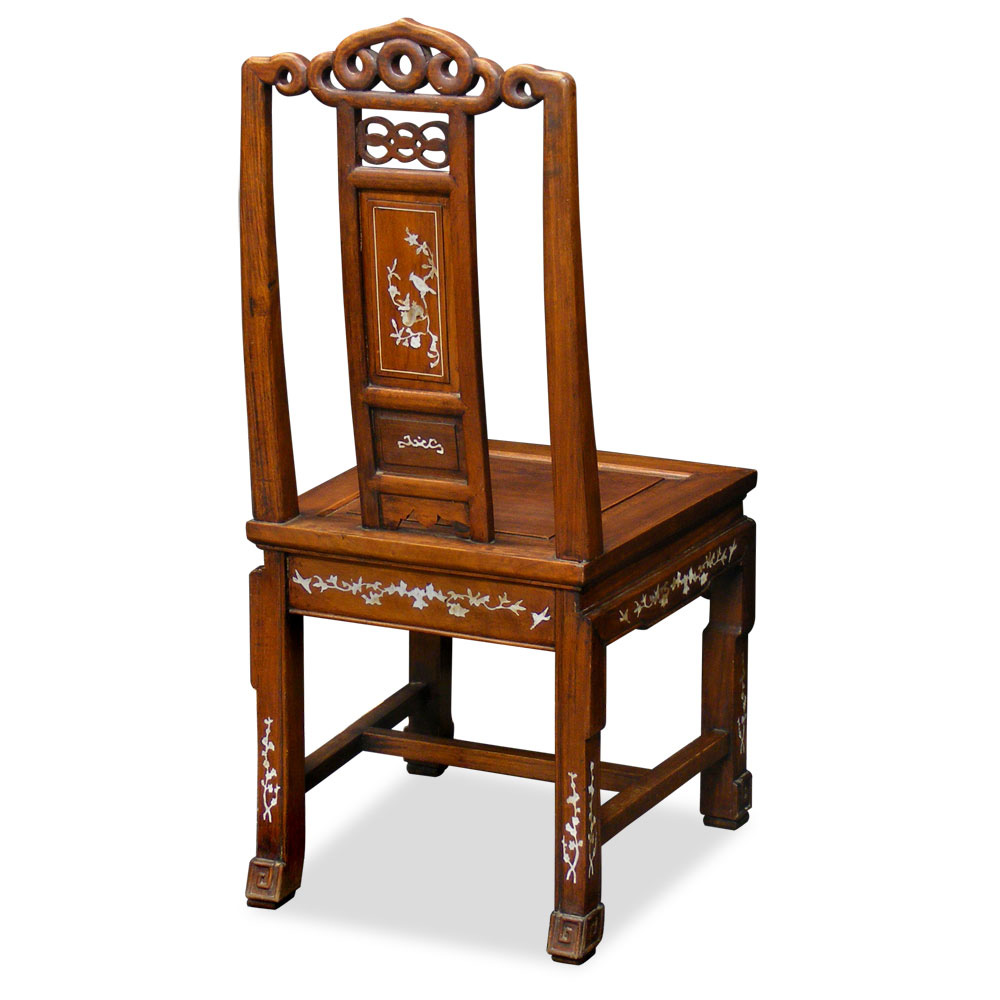 Rosewood Ling-Chi Side Chair with Mother Pearl Inlay