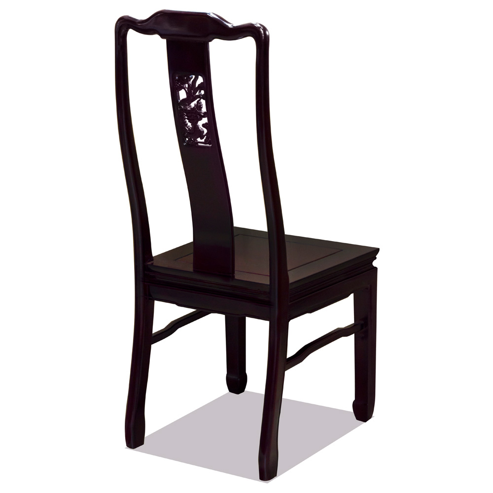 Dark Cherry Rosewood Dragon Oriental Chair