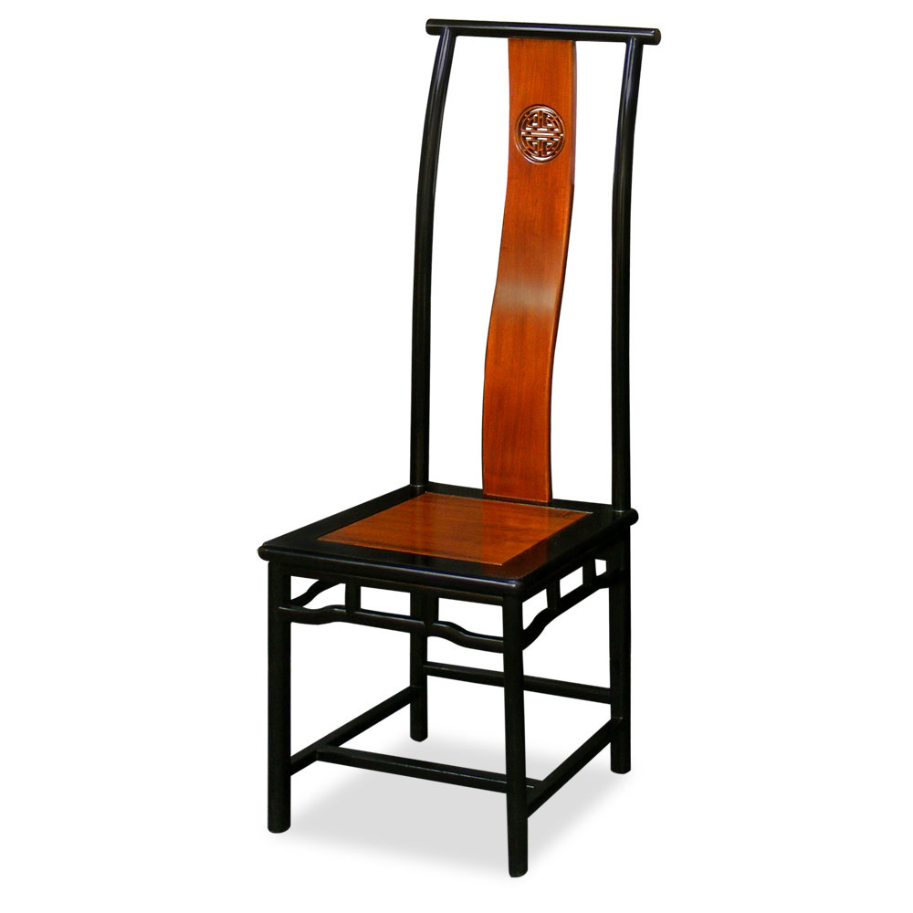 Black Trim Natural Finish Rosewood Ming Tall Chair