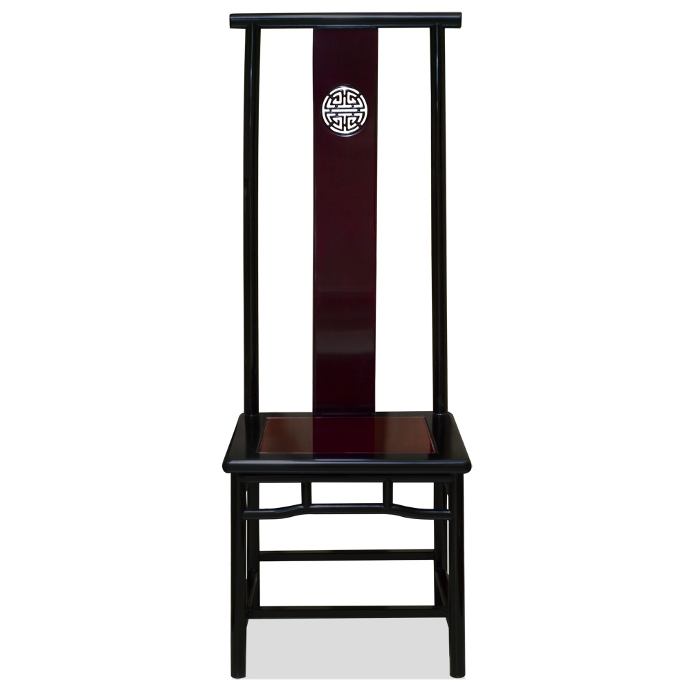 Black Trim Dark Cherry Rosewood Chinese Ming Longevity Tall Chair