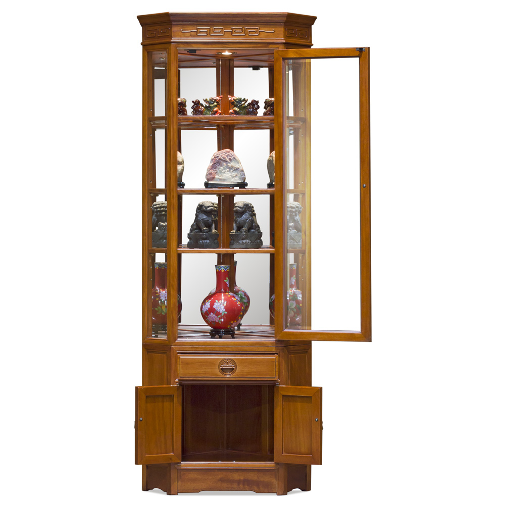 Natural Finish Rosewood Chinese Longevity Corner Display Cabinet