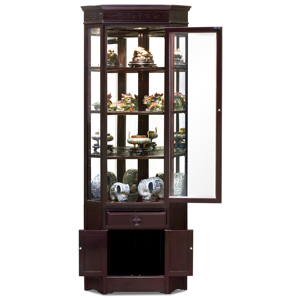 Dark Cherry Rosewood Chinese Longevity Corner Display Cabinet