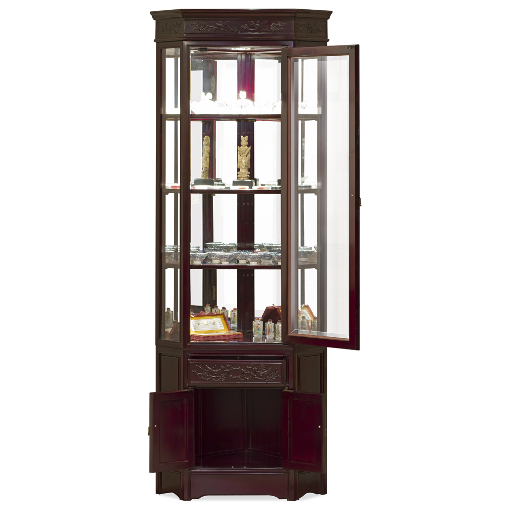 Dark Cherry Rosewood Flower and Bird Oriental Corner Display Cabinet