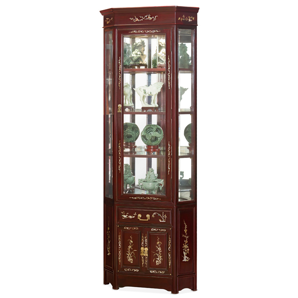 Dark Cherry Rosewood Oriental Corner Display Cabinet with Flower Mother of Pearl Inlay