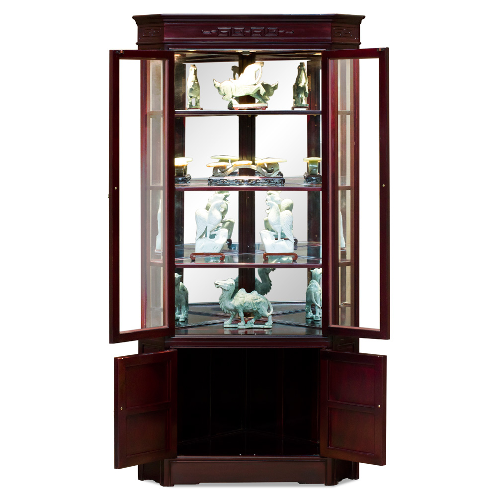 Dark Cherry Rosewood Longevity Corner Display Cabinet