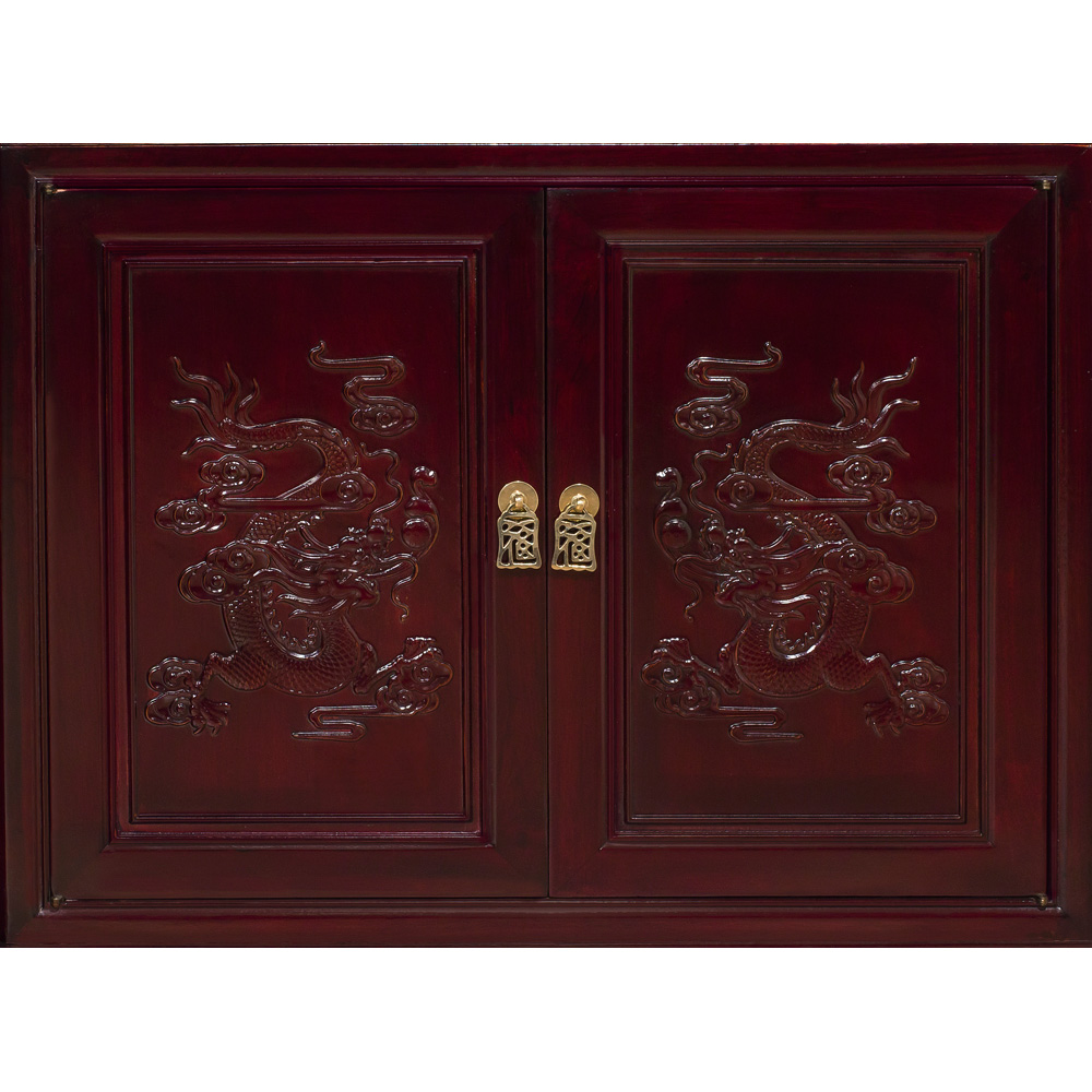 Dark Cherry Rosewood Dragon Corner Display Cabinet