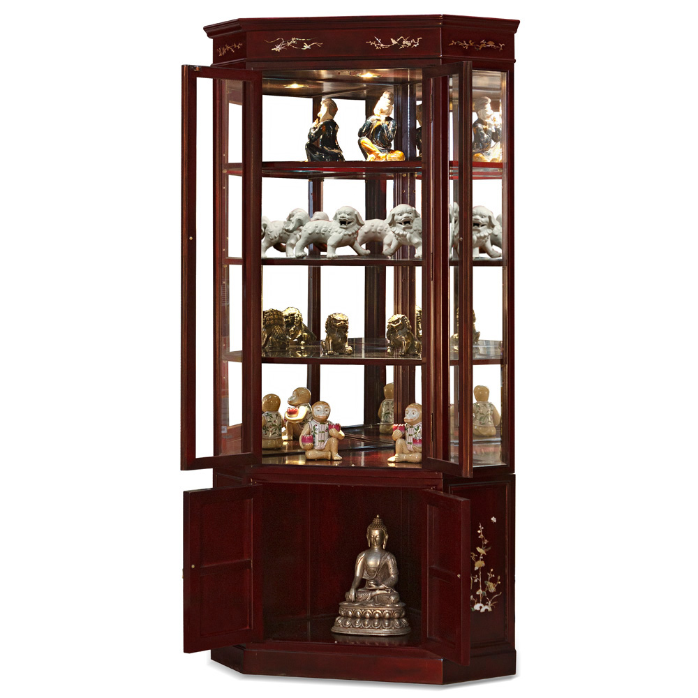 Dark Cherry Rosewood Corner Display Cabinet with Flower Mother of Pearl Inlay