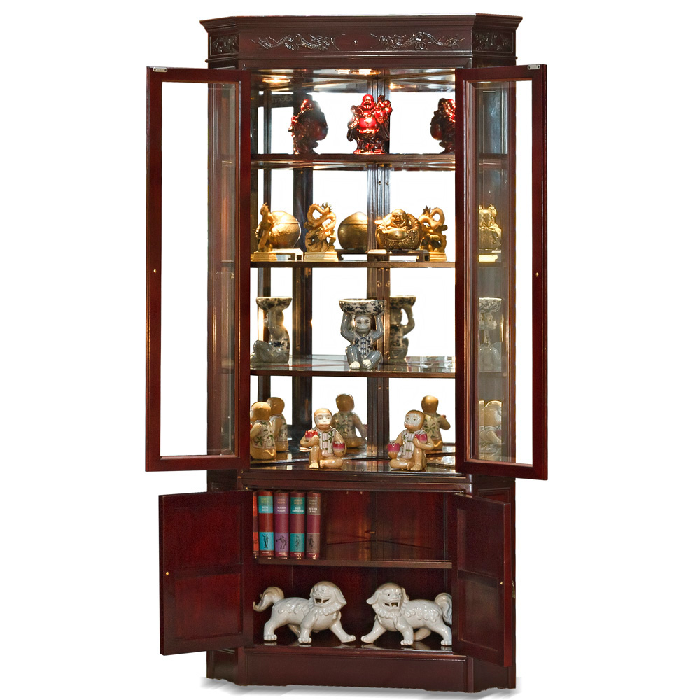 Rosewood Dragon Motif Corner Curio Cabinet