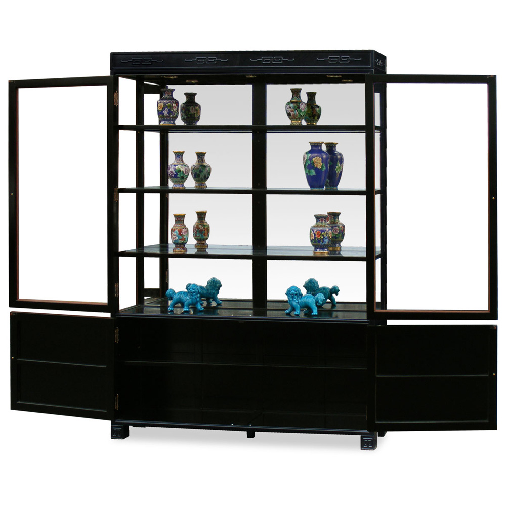 Black Rosewood Chinese Longevity China Cabinet