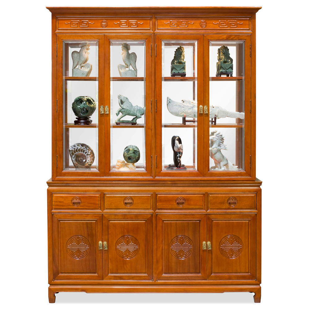60in Rosewood Longevity Motif China Cabinet