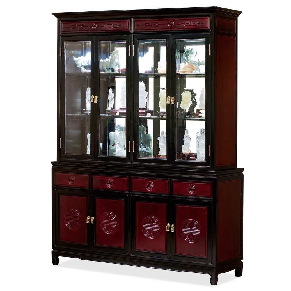 60 Inch Black Trim Dark Cherry Rosewood Chinese Longevity China Cabinet