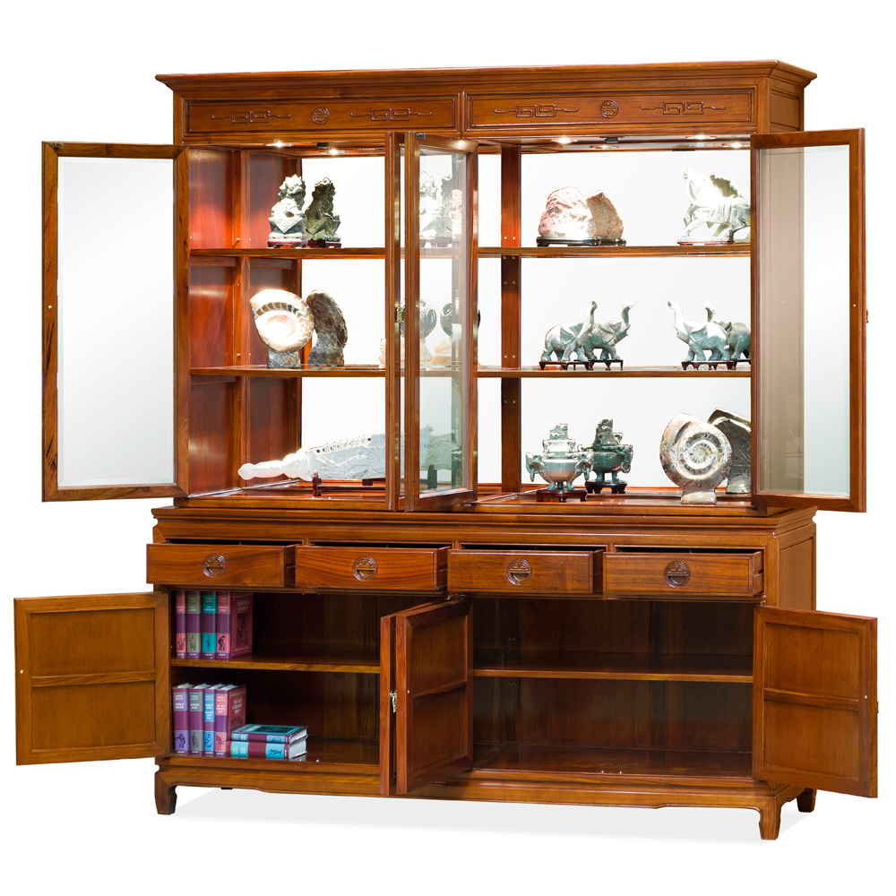 Natural Finish Rosewood Longevity China Cabinet
