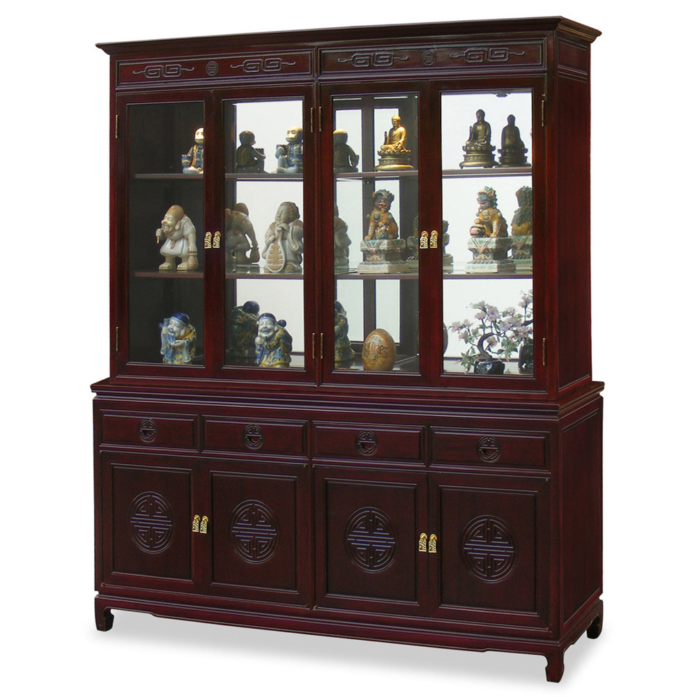 Dark Cherry Rosewood Chinese Longevity China Cabinet