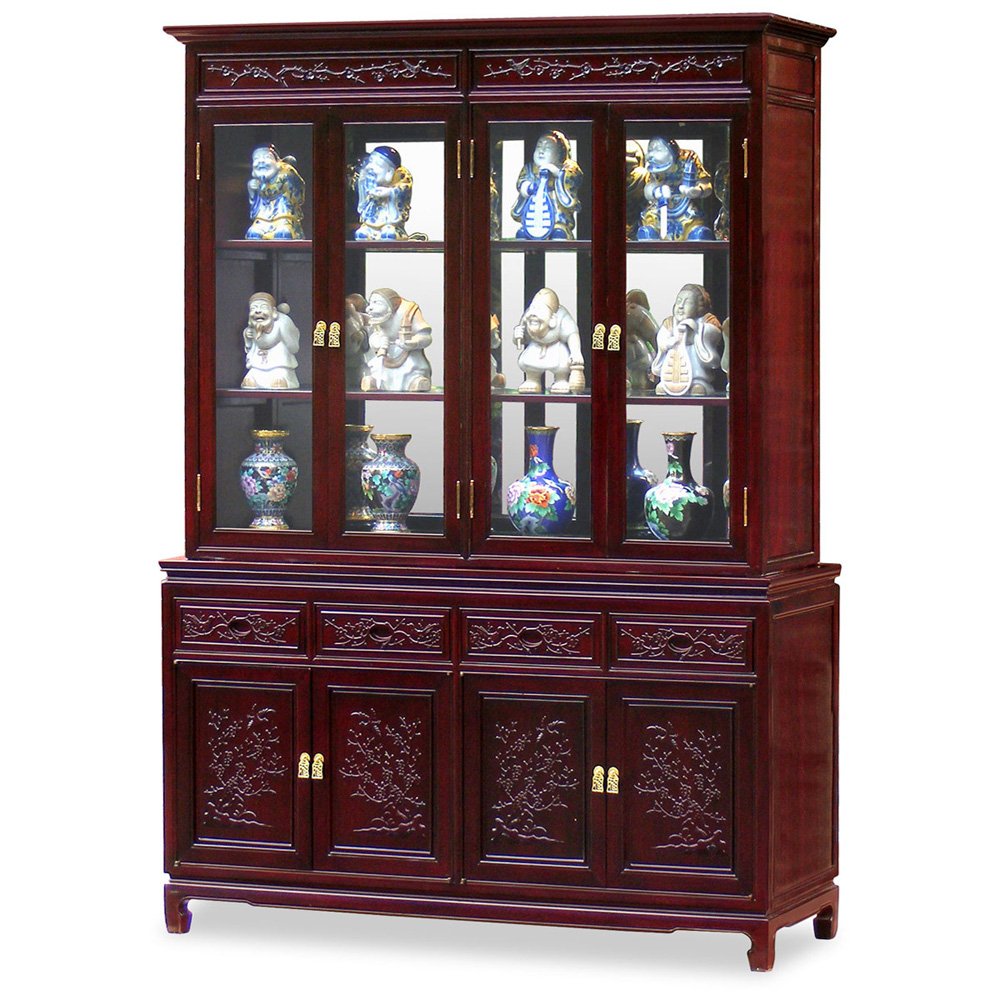 60in Rosewood Flower & Bird Motif China Cabinet