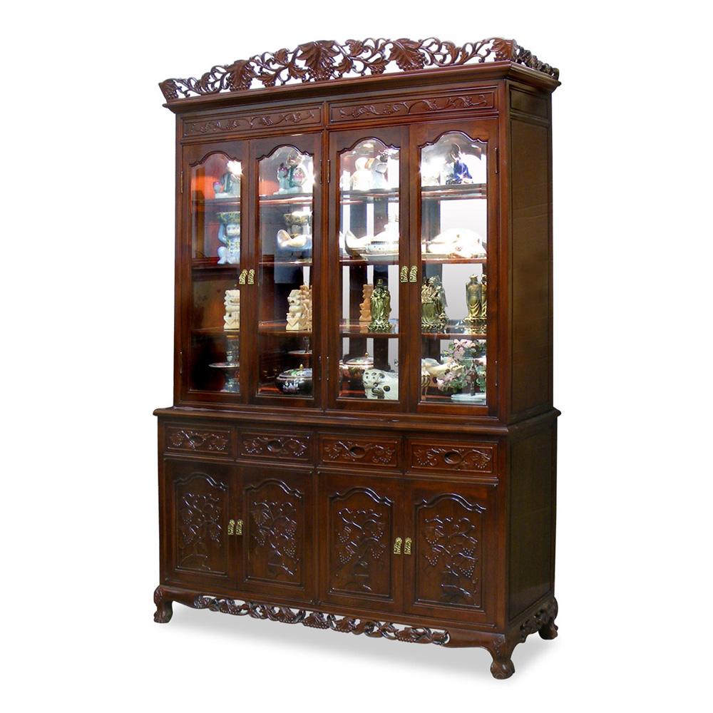 60in Rosewood French Queen Ann Grape Motif China Cabinet