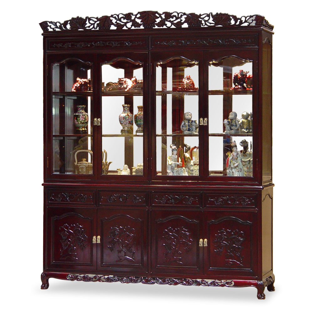 Dark Cherry Rosewood Grape Motif Oriental China Cabinet